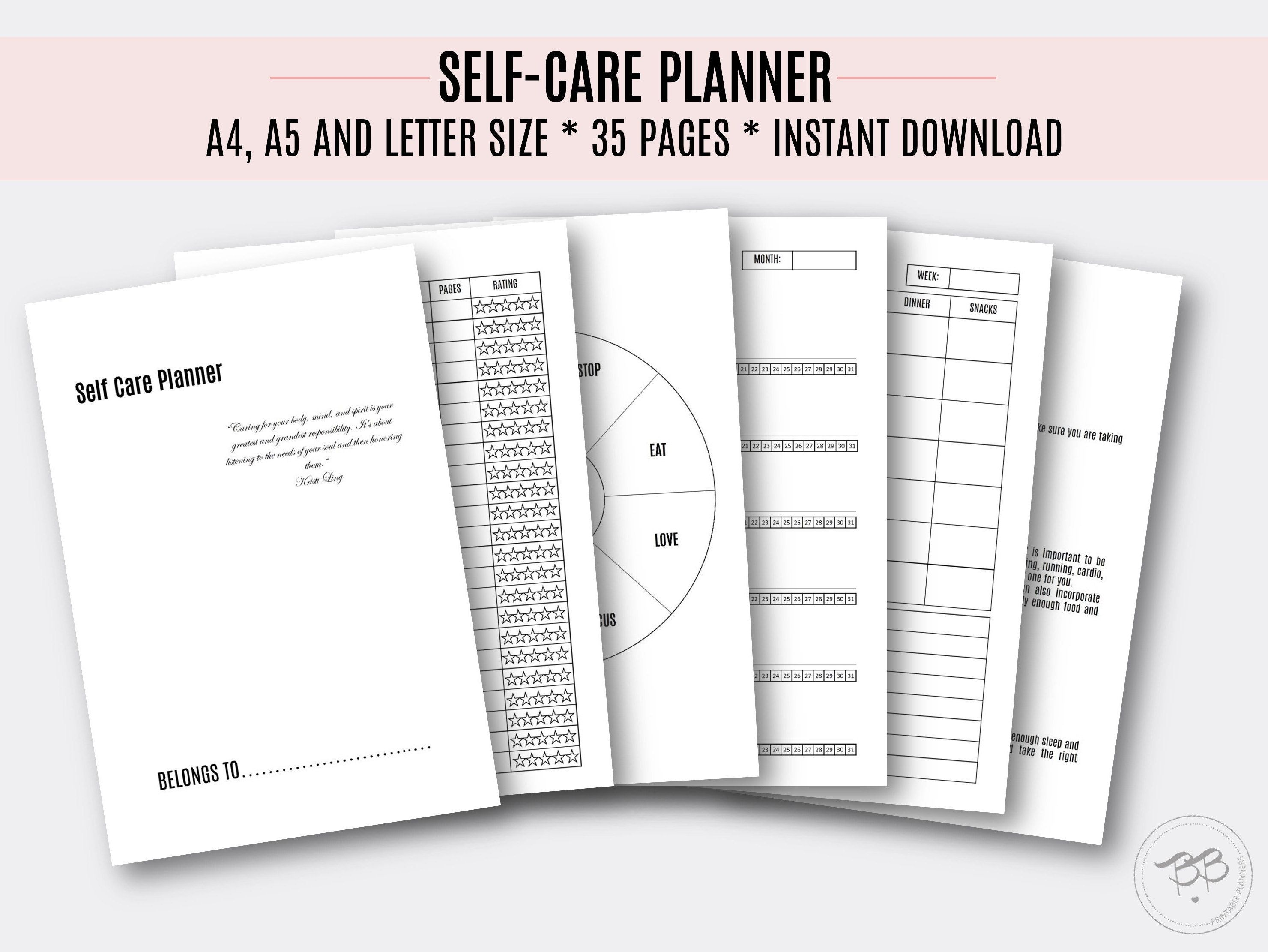 Selfcare Planner/ 3 sizes/ Printable PDF/ A4, A5, Letter