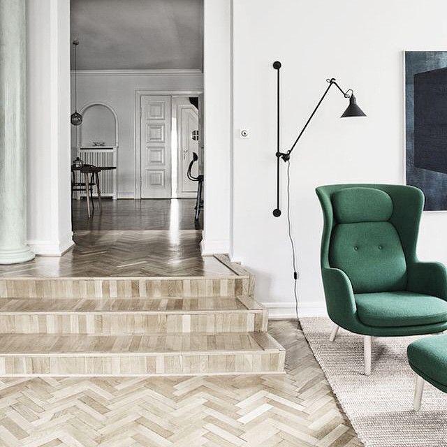 Herringbone #floors with a touch of #green  #interiordesign #design #love #spaces #lighting #design #architecture photo by #heidilerkenfeldt