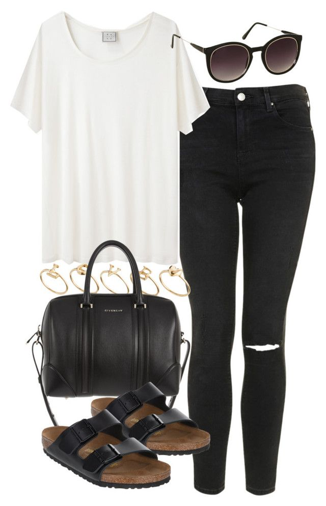 """""""outfit with birkenstocks"""" by im-emma ❤ liked on Polyvore featuring Topshop, Base Range, ASOS, Givenchy and Birkenstock"""