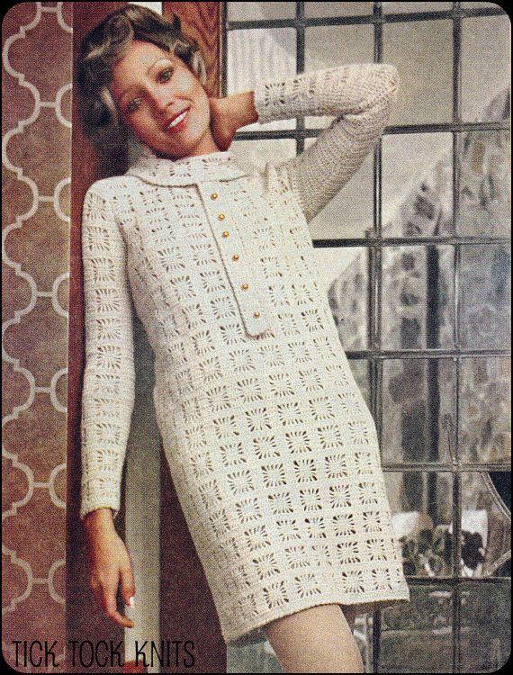 Nr 104 Vintage Crochet Muster Pdf Damen Spider Web Dress Retro