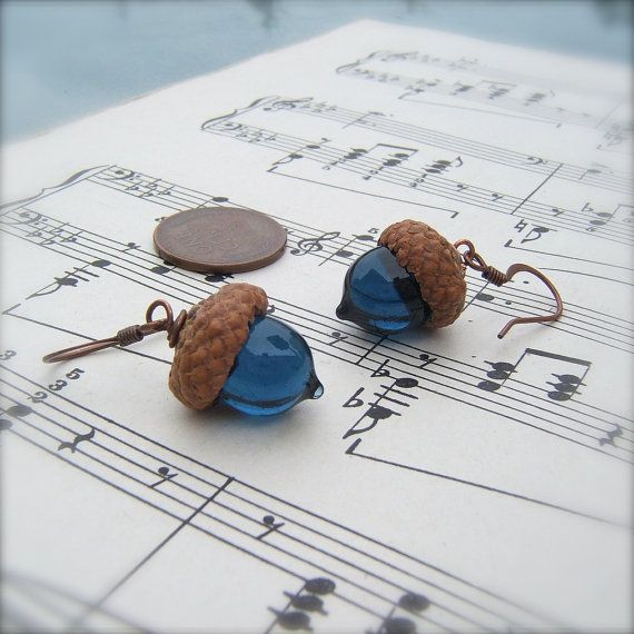 Glass Acorn Earrings in Levi Blue by by bullseyebeads on Etsy