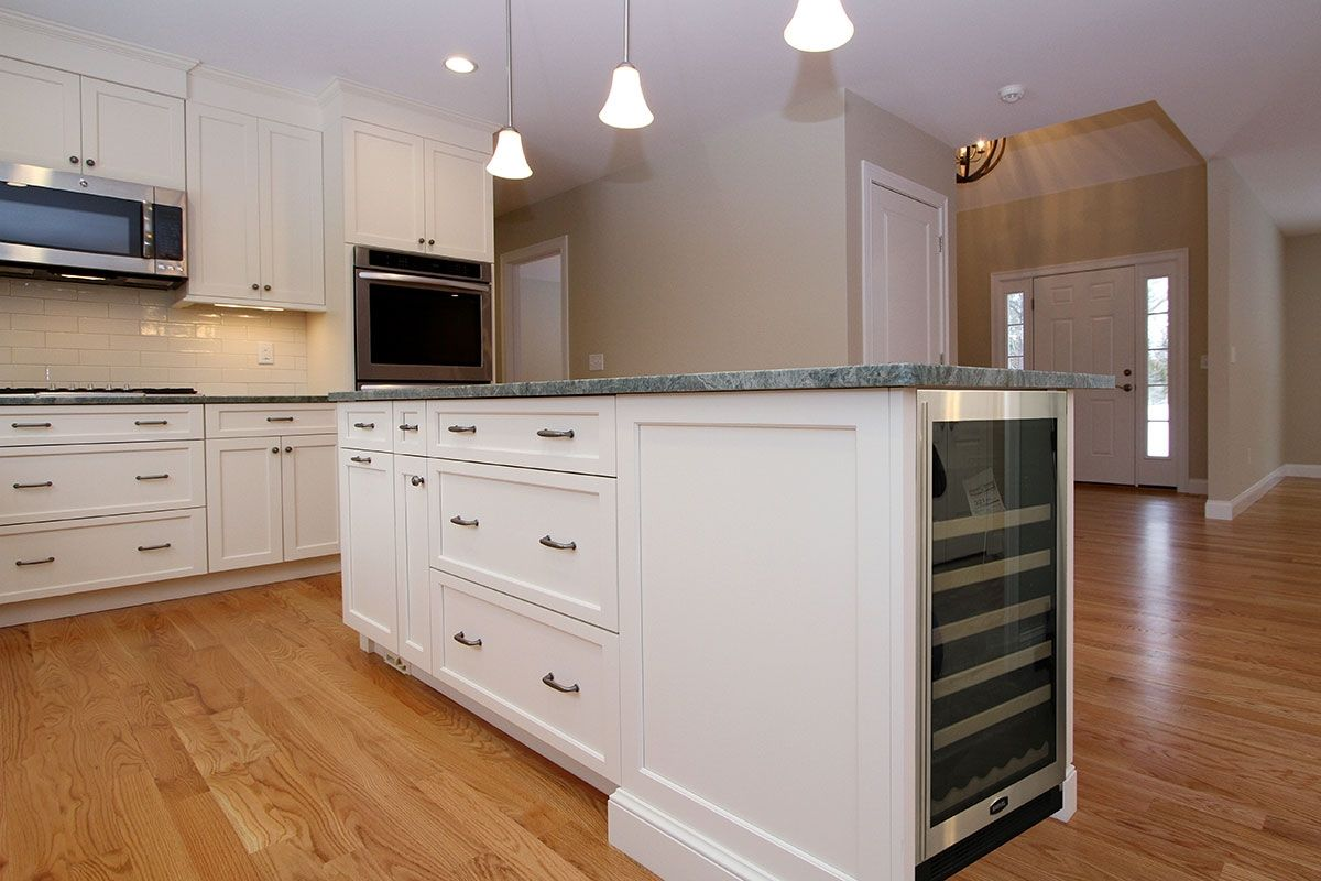 Custom Kitchen Island With Wine Cooler