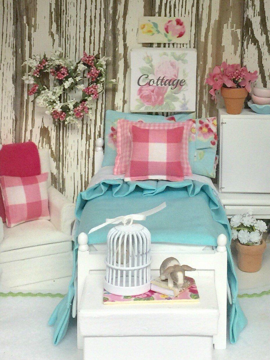 Aqua and pink miniature bedding set 112 dollhouse scale