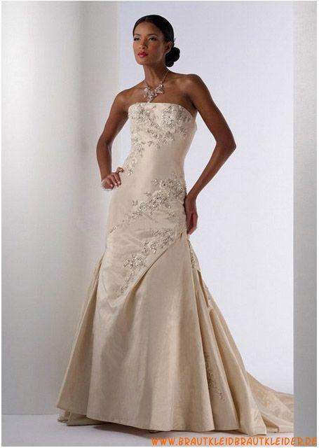 Günstiges Brautkleid aus Satin A-Linie mit Applikation