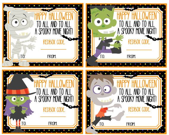 Printable Halloween Red Box Gift Tags Happy Halloween To All And To All A Spooky Movie Night In Redbox Gift Gift Certificate Template Halloween Printables