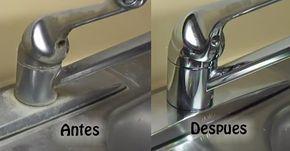 Como Eliminar Las Manchas De Los Grifos Y Fregaderos Limpieza De Grifos Trucos De Limpieza Recetas De Limpieza