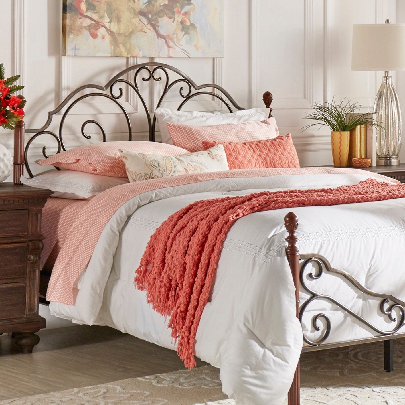 Tribecca Home LeAnn Graceful Scrolled Iron Headboard Queen Size ...