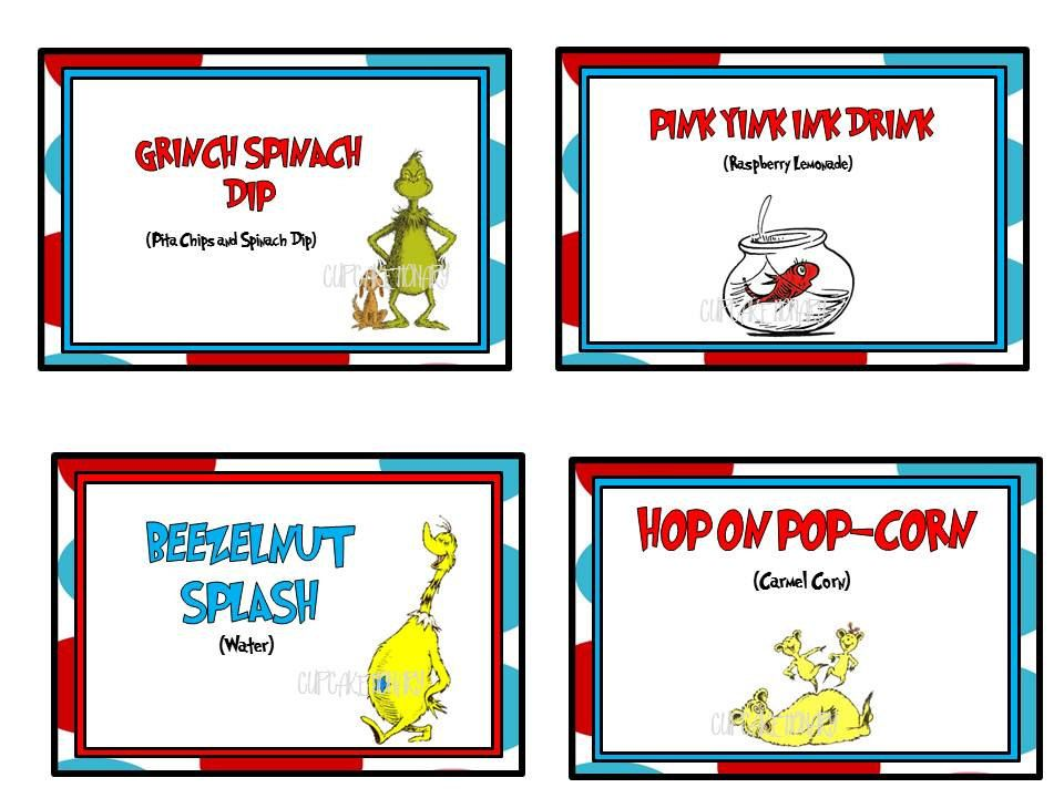 Food cards erikas baby shower ideas pinterest food cards printable cat in the hatdr seuss buffetfood cards bookmarktalkfo Choice Image
