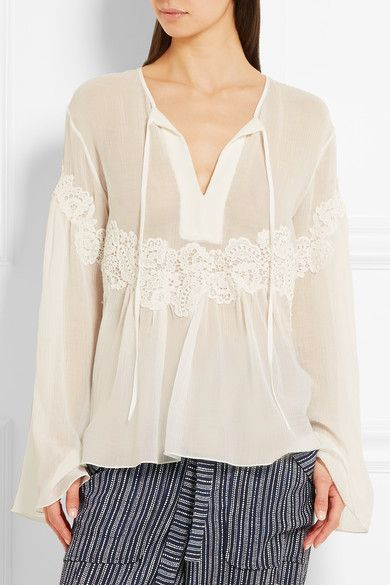Chloé | Lace-appliquéd cotton and silk-blend crépon blouse | NET-A-PORTER.COM