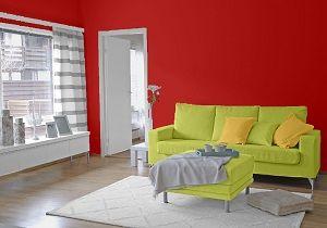 Farbgestaltung für ein Wohnzimmer in den Wandfarben: Rot/Grün/Melone ...