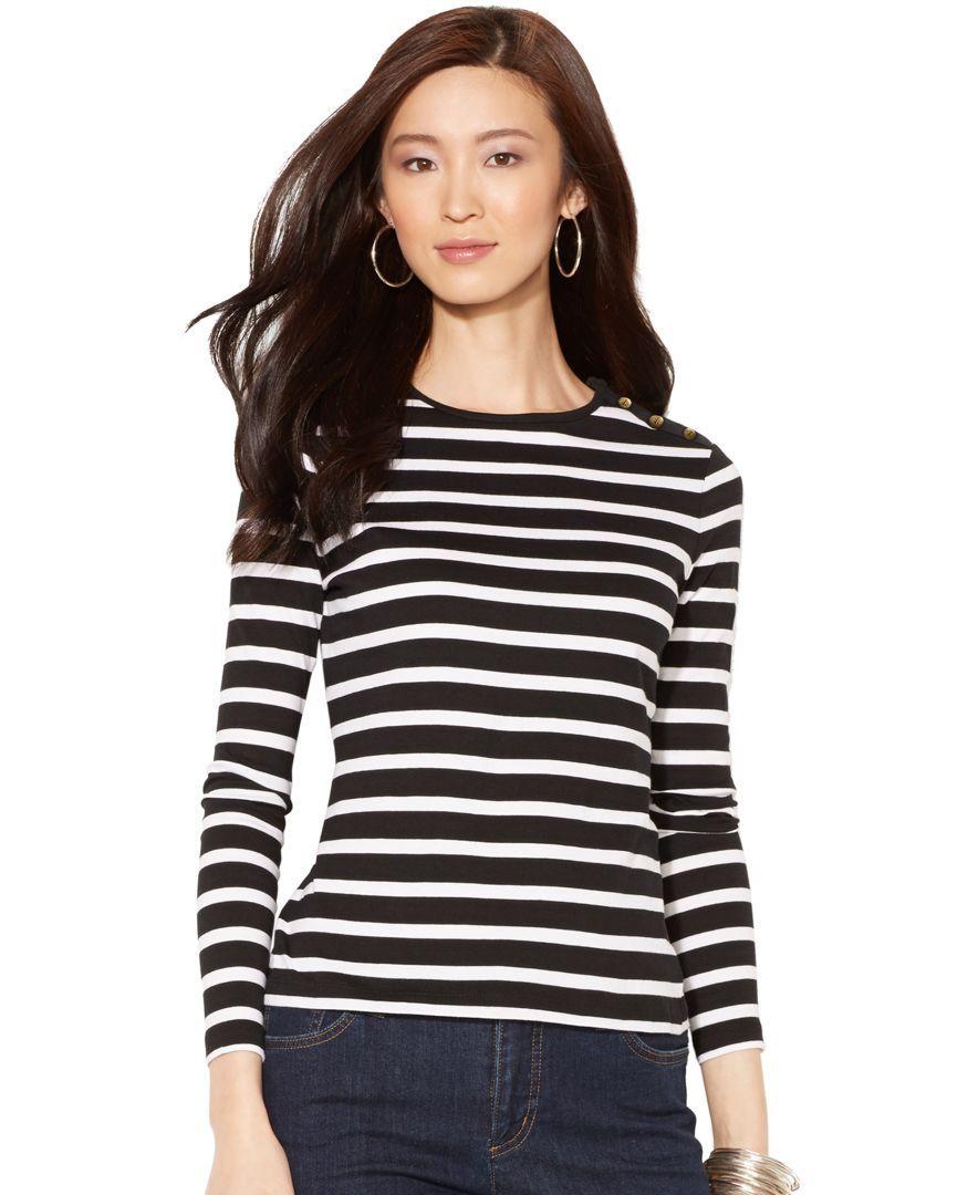 518b186e Button-Shoulder Striped Top | Products | Pinterest | Blanco, Blanco ...