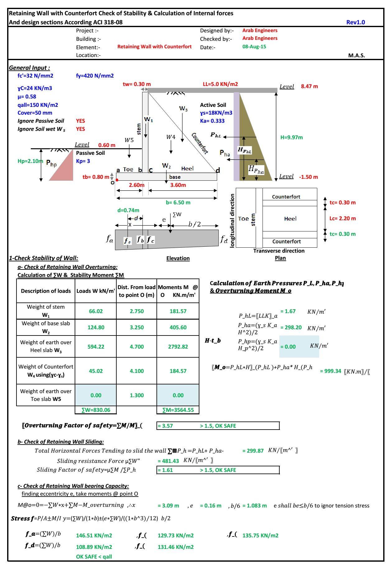 تصميم الجدران الاستنادية كونتر فورت كود Aci ورقة اكسل Sheet Excel Counterfort Retaini Retaining Wall Design Civil Engineering Design Structural Engineering
