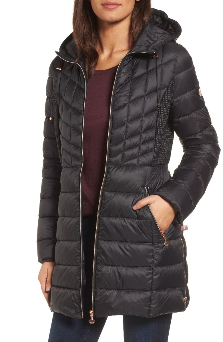 4857d954a6ddd Free shipping and returns on Bernardo Hooded Packable Down   PrimaLoft® Coat  (Regular   Petite) at Nordstrom.com. Updated with gleaming rose-goldtone ...