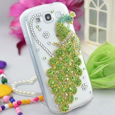 Handmade Clear Transparent Crystal Bling Rhinestone Green Peacock Back Case Cover for Samsung Galaxy S3 i9300 by Phone Care, http://www.amazon.com/dp/B00932C2YI/ref=cm_sw_r_pi_dp_9aemrb0BQD3VW