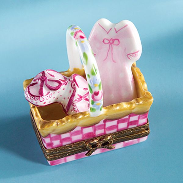 Limoges Baby Girl Basket with Dress and Shoes Box.