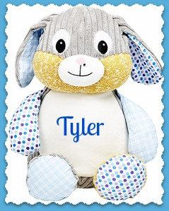 Personalized bunny stuffed animal monogrammed birth announcement bunny rabbitembroidered stuffed animalbabys first easternurserypersonalized birth announcementbaby shower gifttoys and games negle Image collections