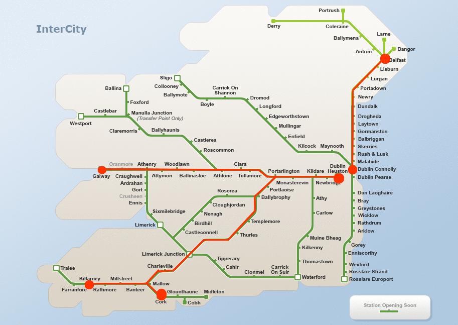 Train Travel In Ireland Map.Ireland Train Map Ireland Pinterest Ireland Ireland