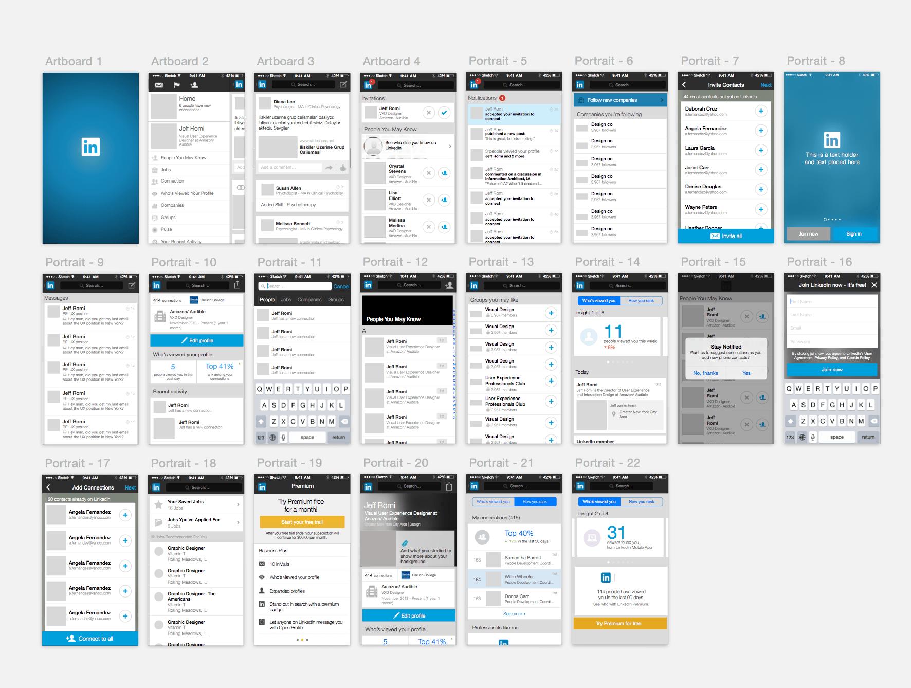 LinkedIn GUI for Sketch Interactive design, Web design