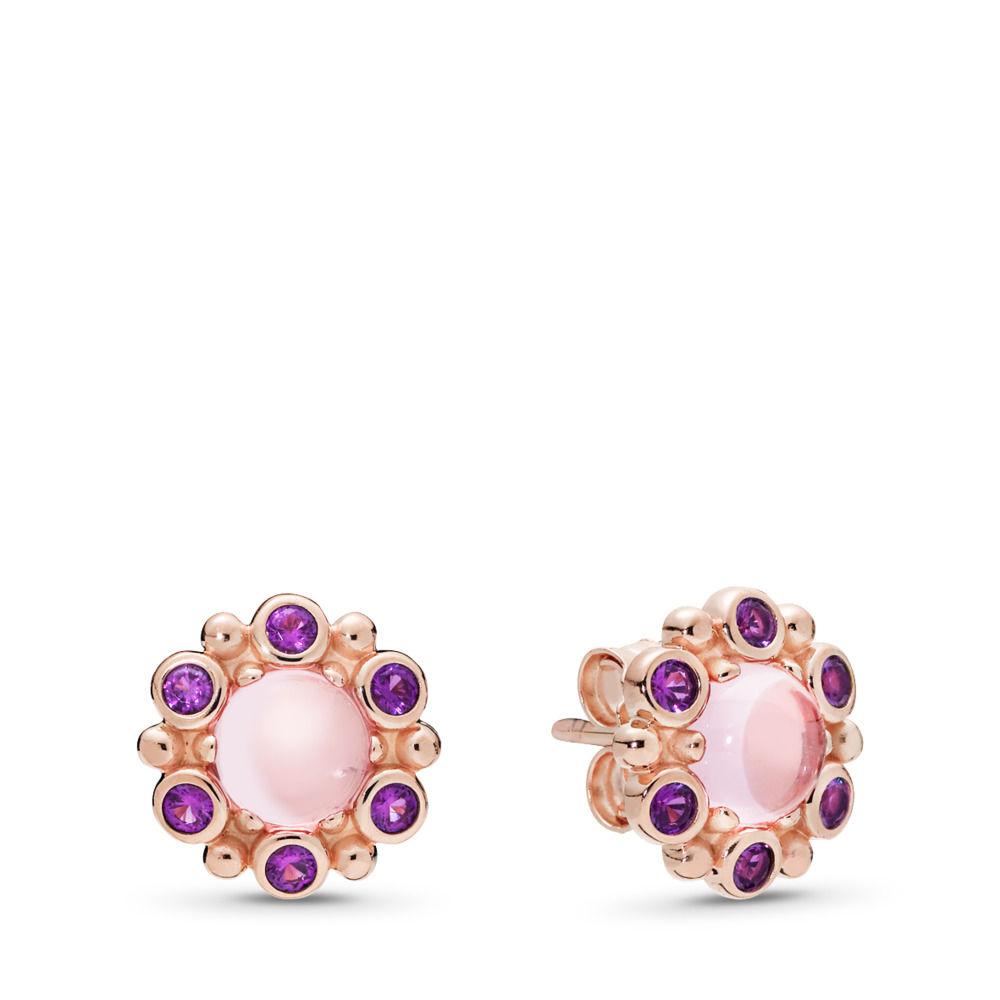 Heraldic Radiance Earrings Pandora Rose Pink Purple Crystals