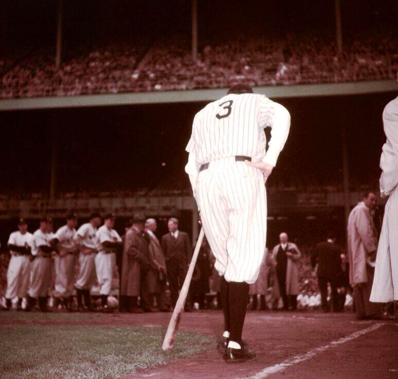 The Babe Leaning On Bob Feller S Bat Waits For Applause To Abate Before Addressing Crowd