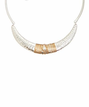 Loving this Pearl & Two-Tone Hammered Crescent Necklace on #zulily! #zulilyfinds