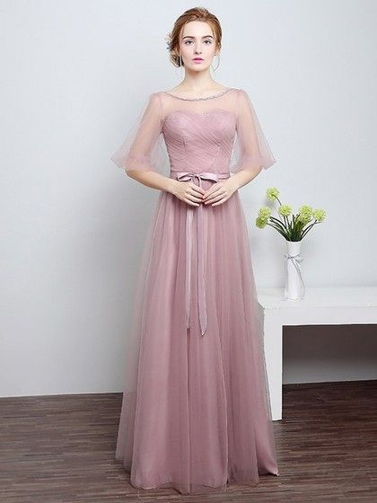 6fea991df A-line Scoop Neck Tulle Floor-length with Sashes   Ribbons ...