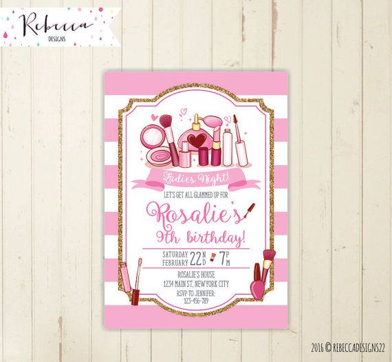 Spa party invitation make up invitation fashion birthday party diva