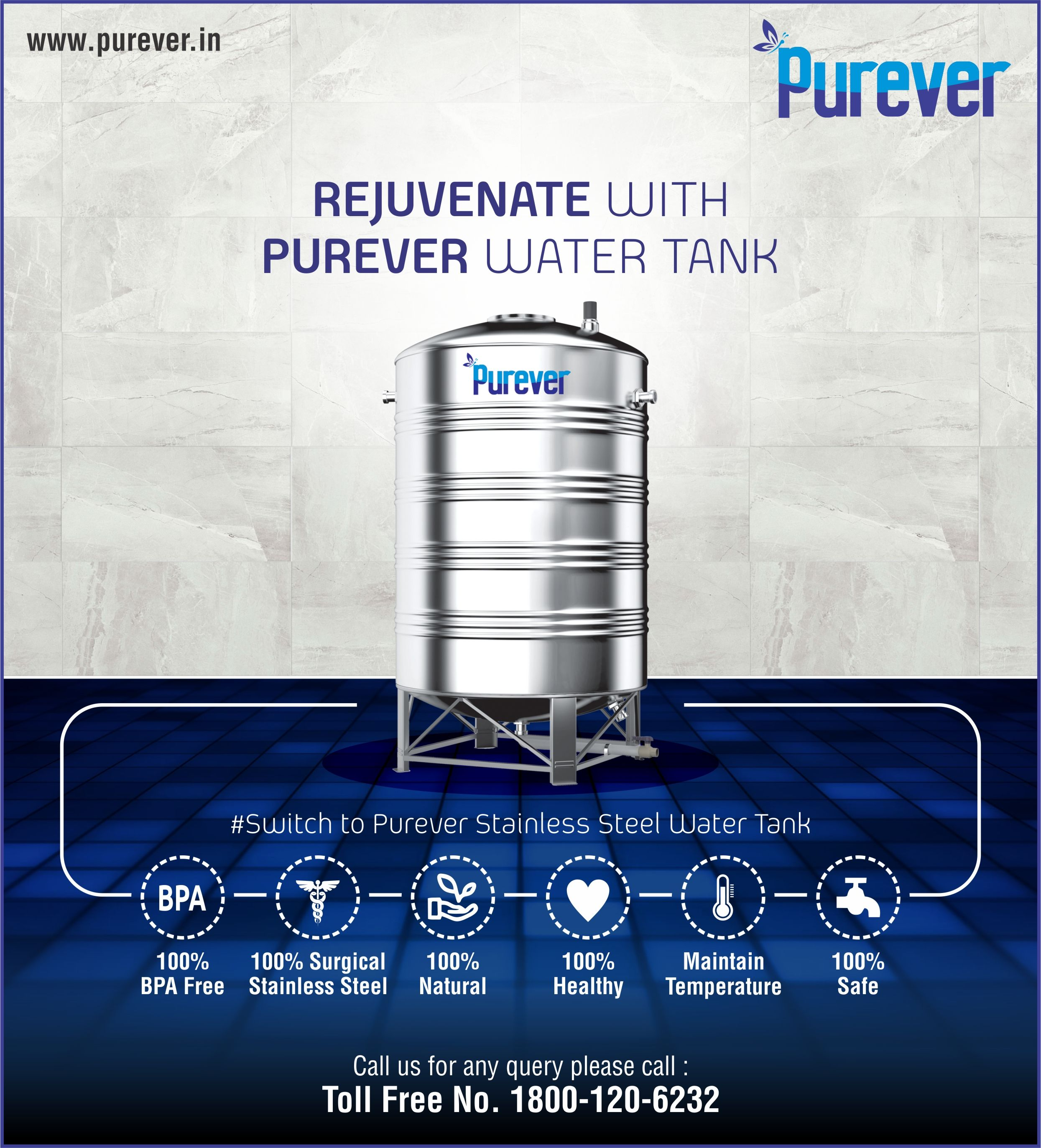 Rejuvenate With Purever Water Tank 100 Bpa Free 100 Surgical Stainless Steel 100 Natural 100 Healthy 100 Steel Water Tanks Water Tank Steel Water