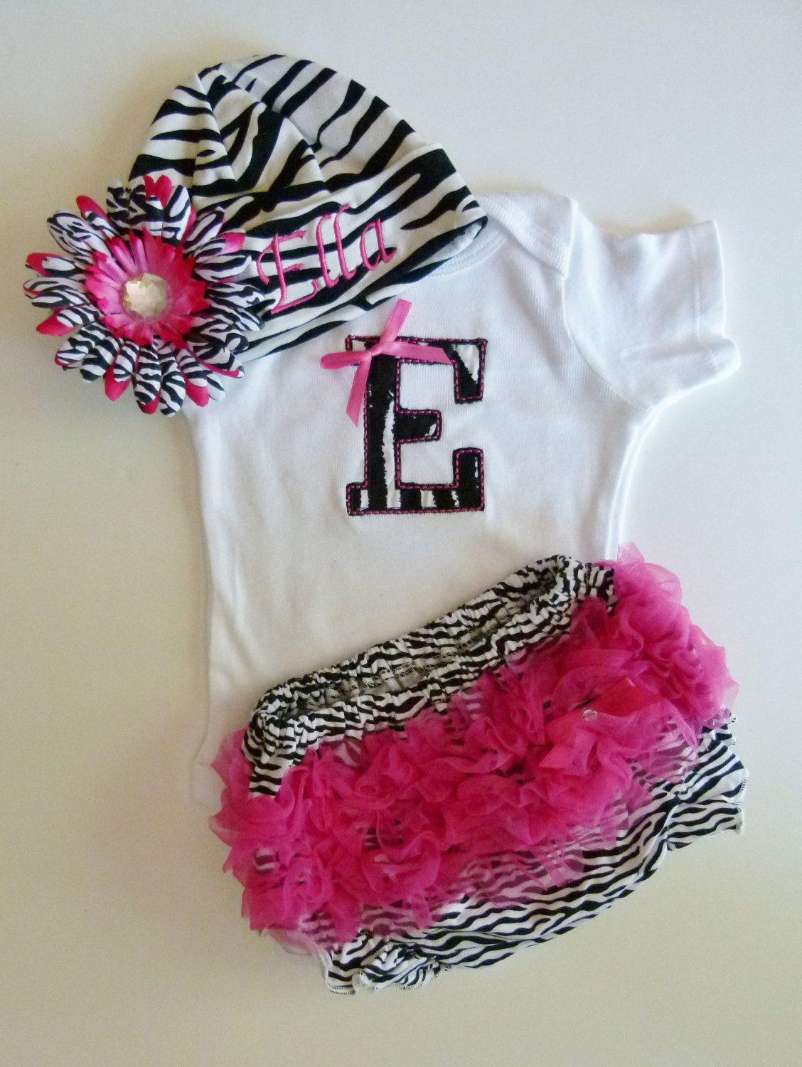 Ruffle Butt Bloomers Personalized Monogram Baby Girl Onesie and Zebra Beanie With Flower Hairbow. $40.00, via Etsy.