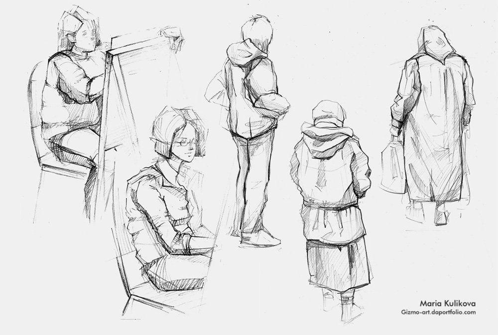 Наброски людей карандашом в одежде У уроки РИСОВАНИЕ