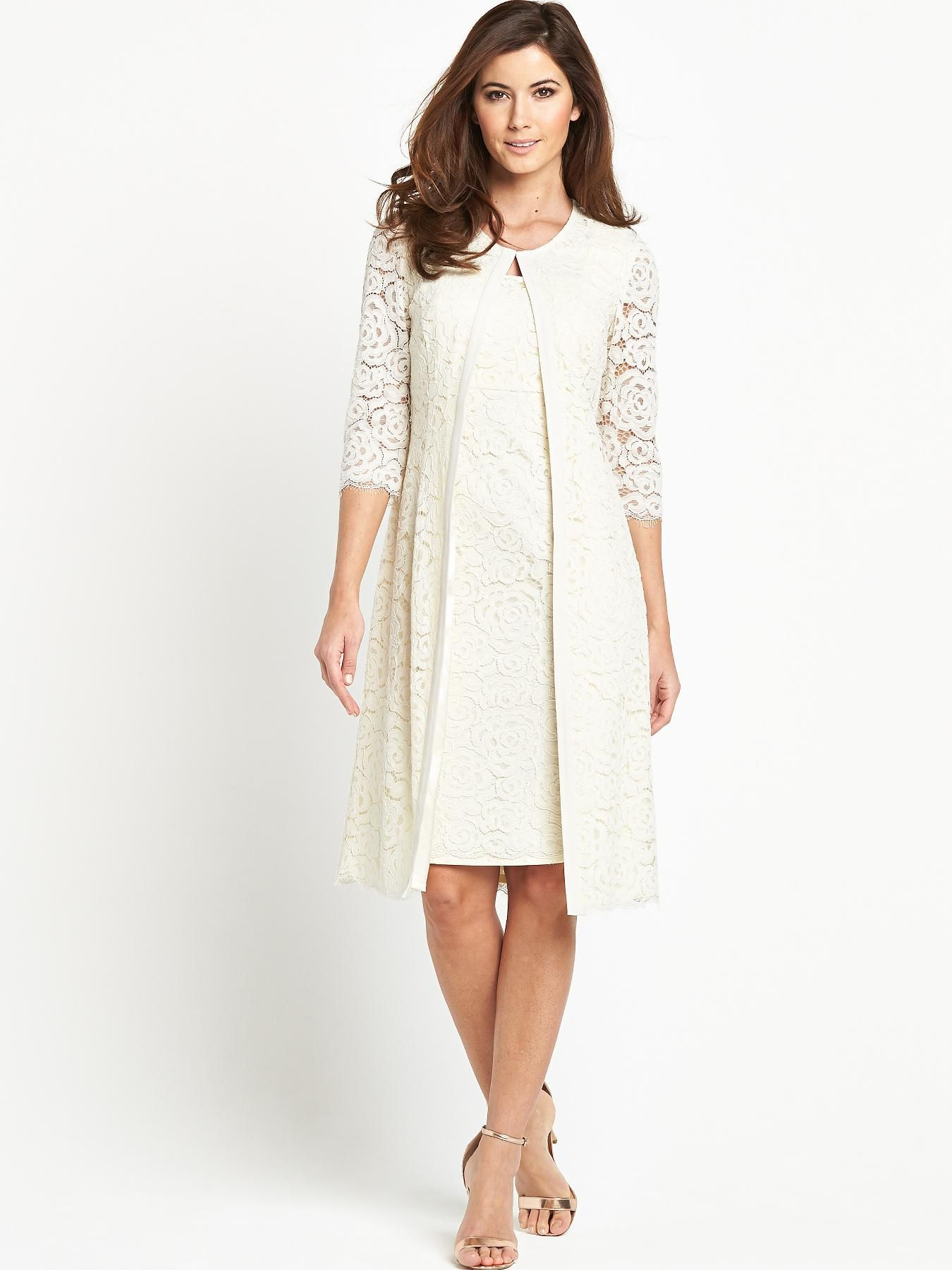 Berkertex lace coat and dress ideal for a low key for Coat and dress outfits for wedding guests