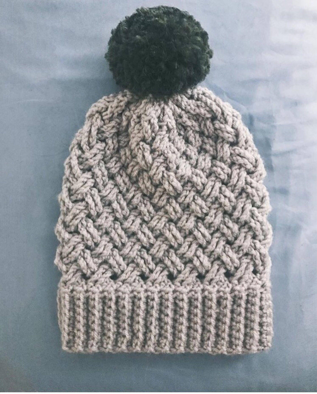 d20628e082b Aspen Basket Weave Beanie Crochet Pattern Intermediate Level Crochet Hat  Pattern by WeavingWondersShop on Etsy https