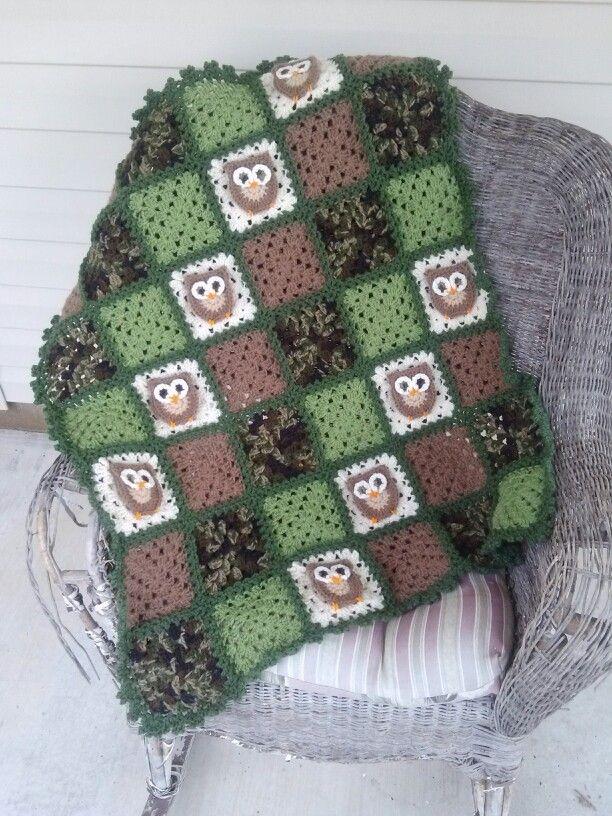 Camo Owl Baby Blanket My Yarnin Pinterest Owl Baby Blankets