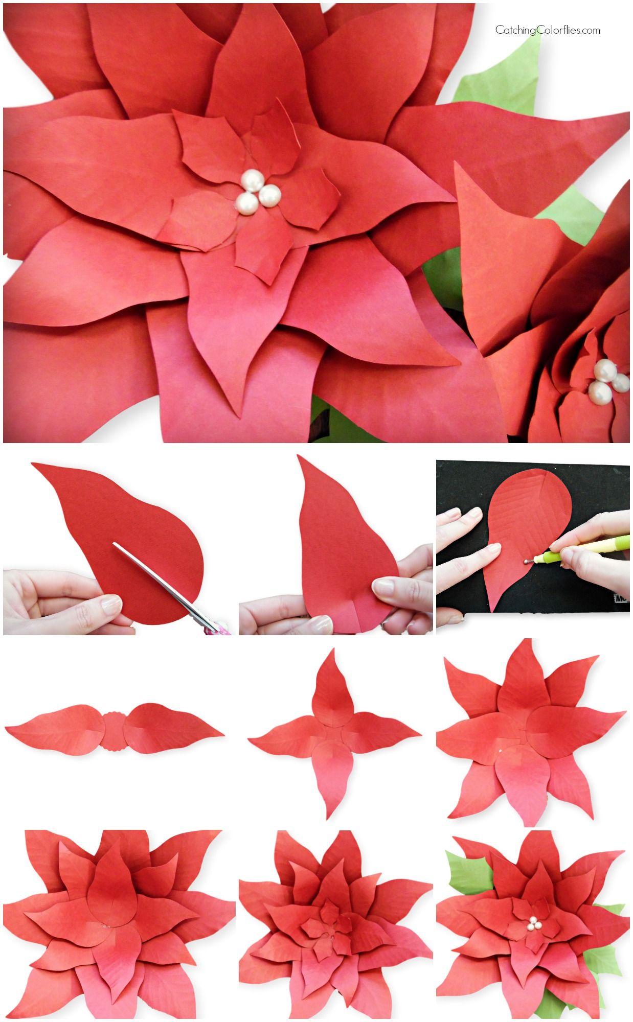 Christmas Poinsettia Paper Flowers Template Flower Svg Cut Files
