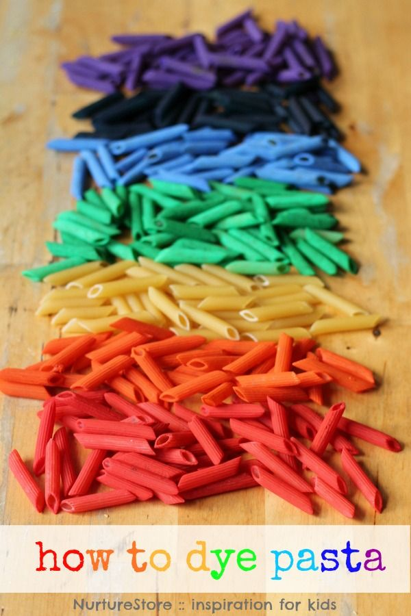 How to dye pasta for a rainbow sensory tub