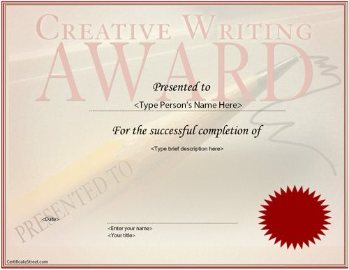 Business Certificate - Creative Writing Award Certificate - free business certificate templates