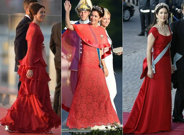 Best dressed: As Crown Princess Mary is once again voted 'most stylish royal', FEMAIL take a look back at her best fashion moments, from a one-shouldered Grecian gown for a charity dinner in 2011 (left), embellished elegance for Queen Beatrix of The Netherlands' abdication in 2013 (centre), and a strapless lace number for the wedding between Crown Princess Victoria of Sweden in 2013 (right)