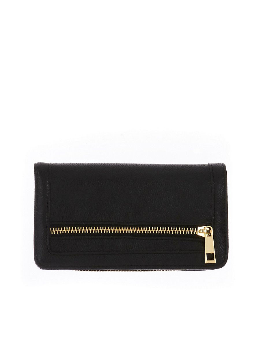 Rainbow Dual Flap Faux Leather Wallet with Zipper Trim