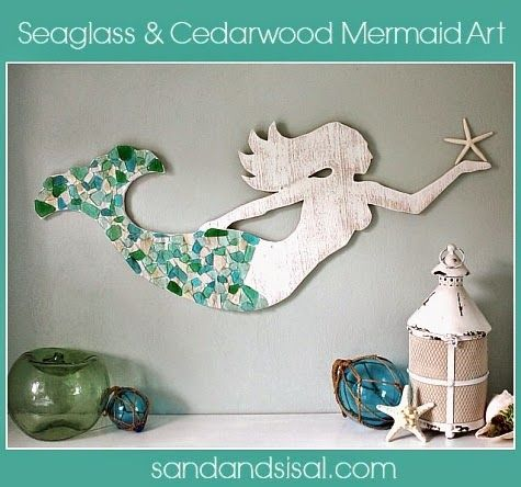 Make A Wood Mermaid For Wall Decor Sea Glass Crafts Mermaid