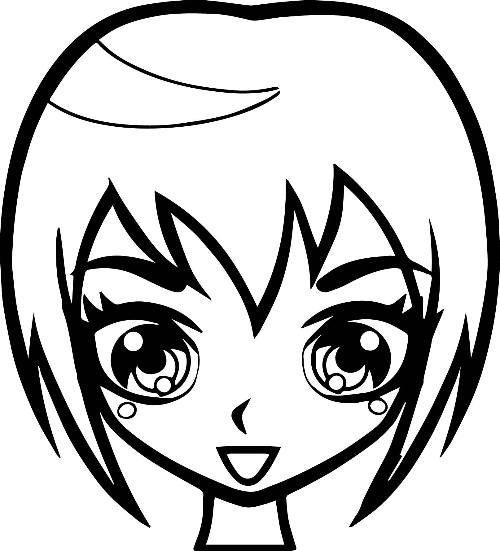 awesome Manga Short Hair Girl Face Coloring Page