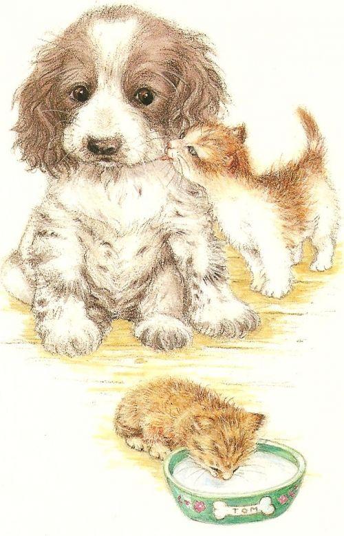 Открытки, открытки с нарисованными собачками