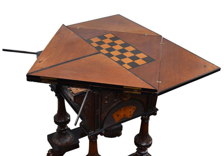 Square 19th Century English Folding Game Table Antique Game