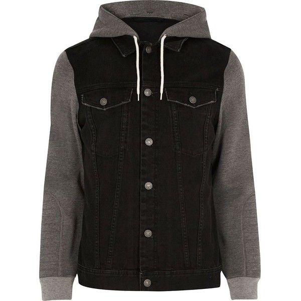 c3a999af0a River Island Black jersey hoodie denim jacket ($64) ❤ liked on Polyvore  featuring men's fashion, men's clothing, men's outerwear, men's jackets,  black, ...