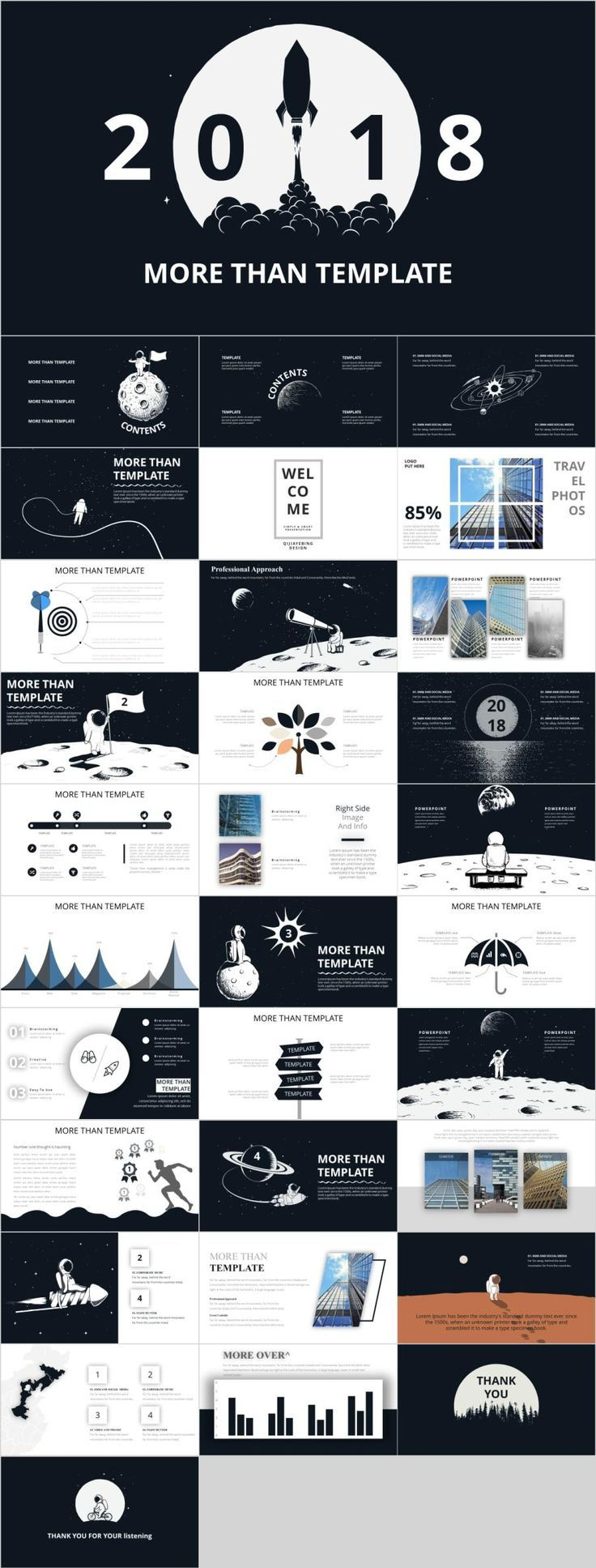 32+ Best annual report black PowerPoint template
