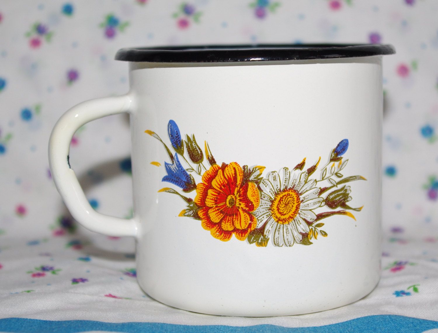 Enamel Cup Cute Soviet Vintage Enamel Camping Tea Cup / Farmhouse Chipped cup / White tin cup with flower design, metal mug, Emalware USSR by VintagePolkaShop on Etsy