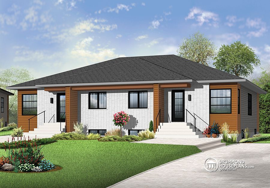 Multi Family Plan W2085 V3 Detail From Drummondhouseplans Com Duplex Design Duplex House Modern Bungalow House