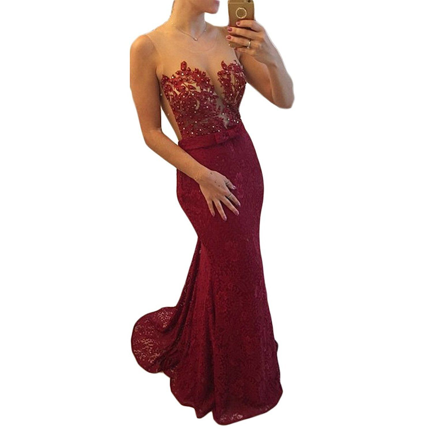 Cool awesome illusion neck red lace sher back mermaid prom dresses
