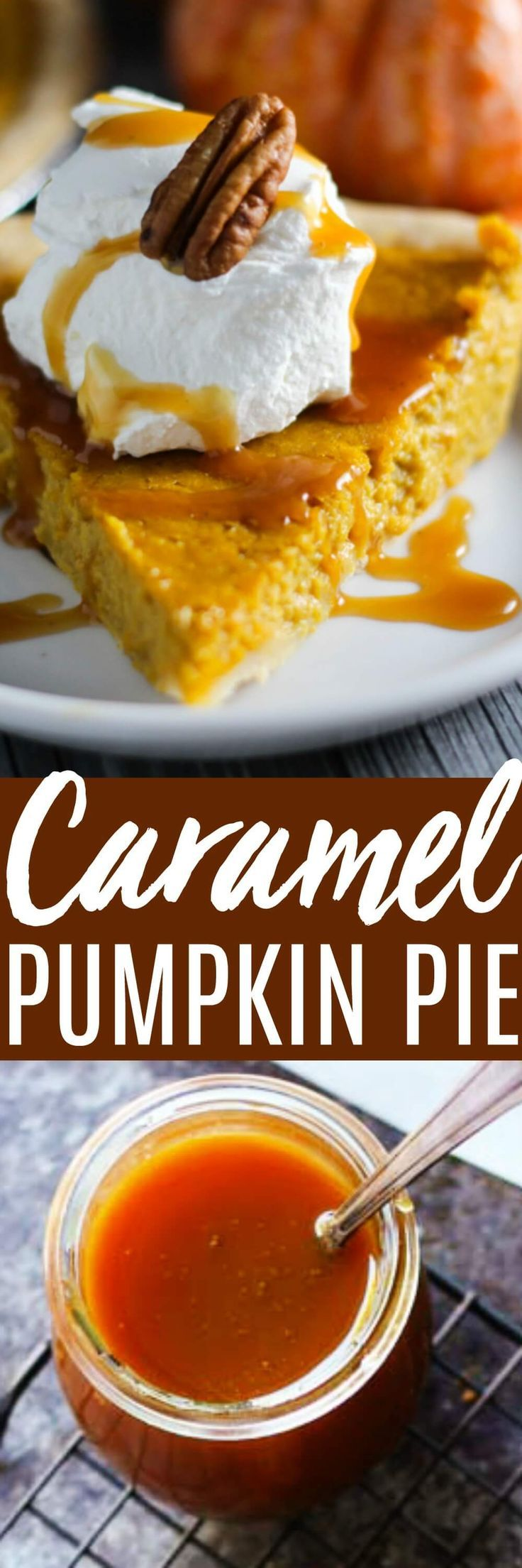 Easy Pumpkin Pie with Salted Caramel Sauce puts a new twist on an old classic. This Pumpkin Pie is so delicious topped with an easy 15-minute salted caramel sauce.