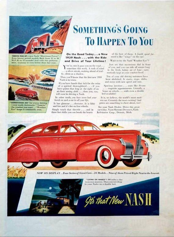1938 1939 Nash Automobile Vintage Advertisement Automotive Wall Art Classic Car Man Cave Decor Original Magazine Print Ad Automobilia