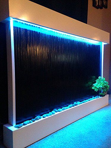 Wall Waterfall Xxl 52 Quot X35 Quot Wall Fountain White Frame Black Glass Color Lights Remote Ctrl By